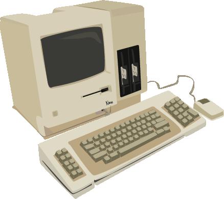 mac ordinateur appel vintage illustration dessin