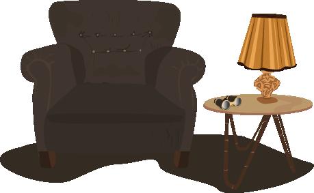 illustration salon lampe vintage